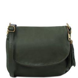 TL Bag Umhängetasche aus weichem Leder mit Quasten Tannengrün TL141223