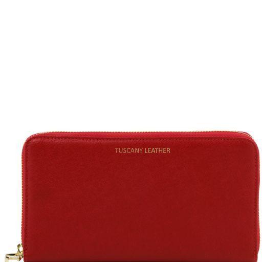 premium selection af79b 44067 Esclusivo portafogli/portadocumenti da viaggio donna in pelle Saffiano -  Rosso