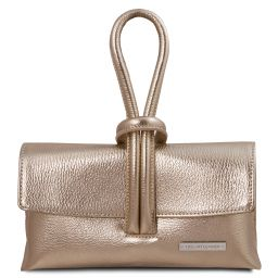 TL Bag Metallic leather clutch Gold TL141993