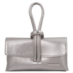 TL Bag Metallic leather clutch Silver TL141993