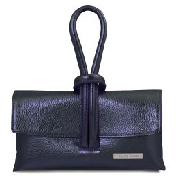TL Bag Pochette in pelle metallic Blu scuro TL141993