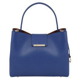 Clio Borsa secchiello in pelle Saffiano Blu scuro TL141690