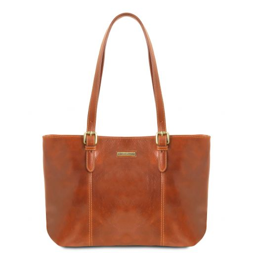 Annalisa Leather shopping bag with two handles Honey TL141710