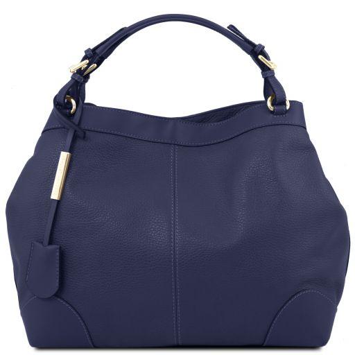 Ambrosia Soft leather shopping bag with shoulder strap Темно-синий TL141516
