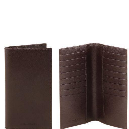 Esclusivo portafoglio/portacarte di credito verticale in pelle Saffiano Testa di Moro TL141496