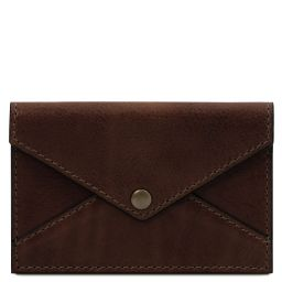 Leather business card / credit card holder Dark Brown TL142036