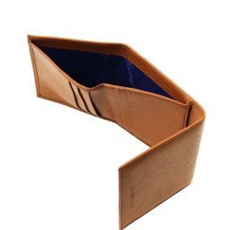 Esclusivo portafoglio uomo in pelle Saffiano 3 ante Blu scuro TL141499