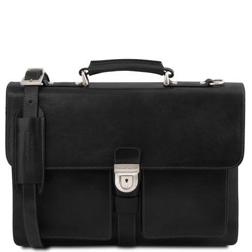 Assisi Кожаный портфель на 3 отделения Черный TL141825