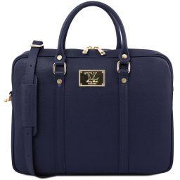 Prato Exclusive Saffiano leather laptop case Dark Blue TL141626