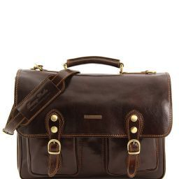 Modena Кожаный портфель на 2 отделения - Большой размер Темно-коричневый TL100310