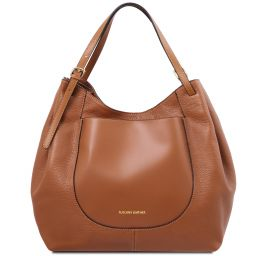 Cinzia Shopping Tasche aus weichem Leder Cognac TL141515