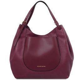 Cinzia Bolso shopping en piel suave Bordeaux TL141515