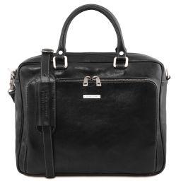 Pisa Cartella in pelle porta notebook con tasca frontale Nero TL141660
