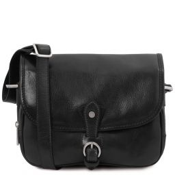 Alessia Leather shoulder bag Black TL142020