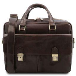 San Miniato Multifach-Notebooktasche aus Leder mit zwei aufgesetzte Taschen Dunkelbraun TL142026