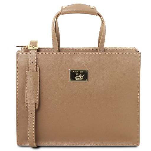 Palermo Saffiano Leather briefcase 3 compartments for women Caramel TL141369