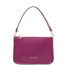 Cassandra Leather clutch handbag Purple TL142038