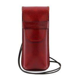 Эксклюзивный кожаный футляр для Очков/Смартфона Красный TL141282
