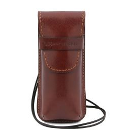Exclusiva funda para gafas/Smartphone/porta reloj en piel con bandolera Marrón TL141282