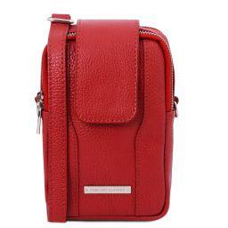 TL Bag Sac bandoulière pour portable en cuir souple Rouge Lipstick TL141698
