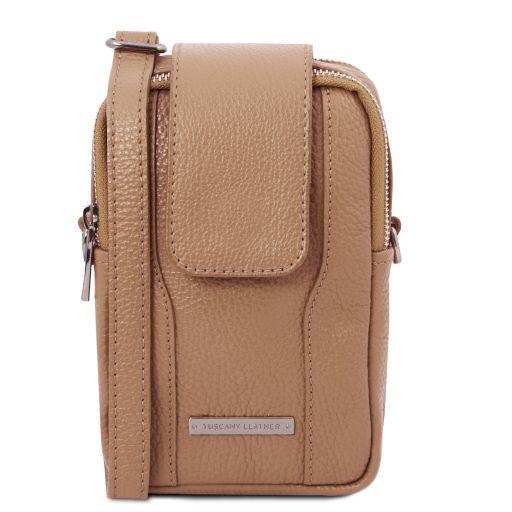 TL Bag Soft Leather cellphone holder mini cross bag Champagne TL141698