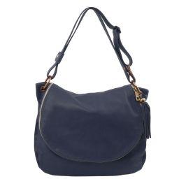 TL Bag Сумка на плечо с кисточкой из мягкой кожи Темно-синий TL141110
