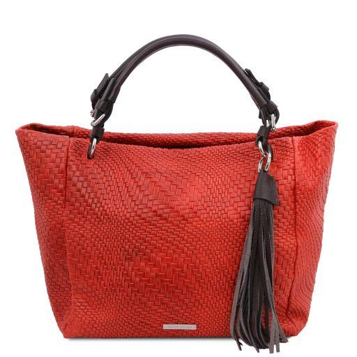 TL Bag Tasche aus geprägtem Leder Lipstick Rot TL142066