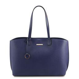 TL Bag Shopping Tasche aus Leder Blau TL141828