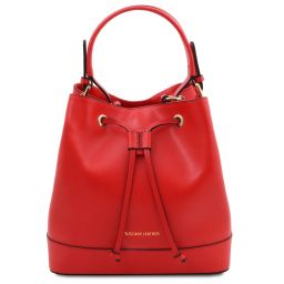 Minerva Leather bucket bag Lipstick Red TL142050