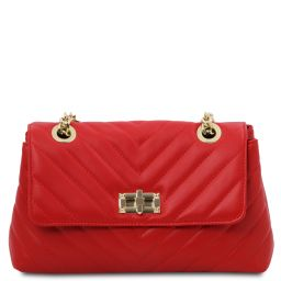 TL Bag Soft leather shoulder bag Lipstick Red TL142015