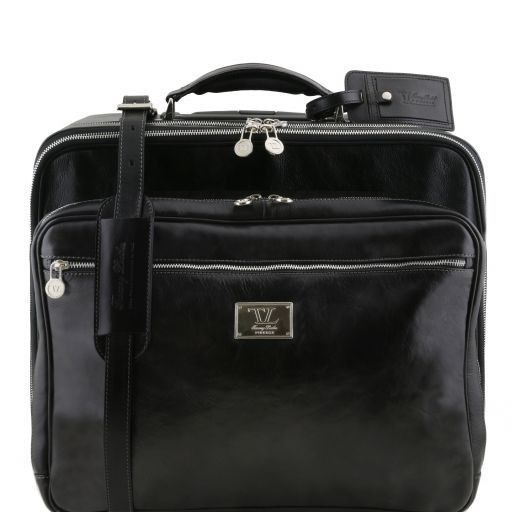 Varsavia Two compartments leather pilot case with two wheels Черный TL141533