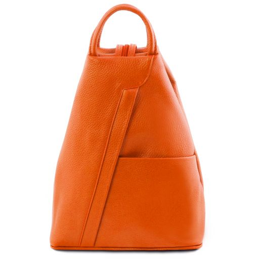 Shanghai Rucksack Tropfendesign aus Leder Orange TL141881