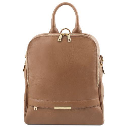 TL Bag Lederrucksack für Damen aus weichem Leder Taupe TL141376