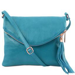TL Young bag Schultertasche aus Leder mit Quasten Turquoise TL141153