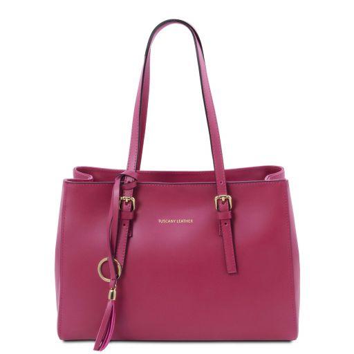 TL Bag Leather shoulder bag Fuchsia TL142037