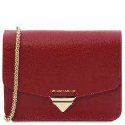 TL Bag Sac à main en cuir Saffiano et bandoulière à chaîne Rouge TL141954