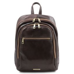Perth 2 Compartments leather backpack Dark Brown TL142049