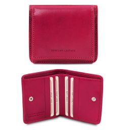 Exclusive leather wallet with coin pocket Фуксия TL142059