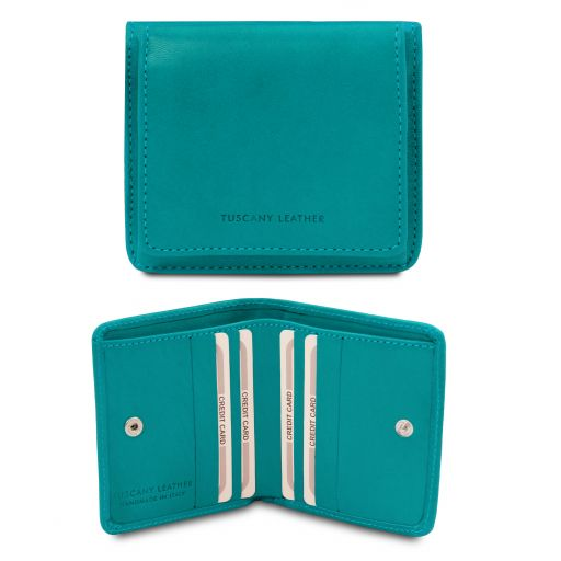 Exclusive leather wallet with coin pocket Turquoise TL142059
