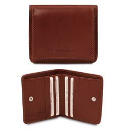 Exclusive leather wallet with coin pocket Коричневый TL142059