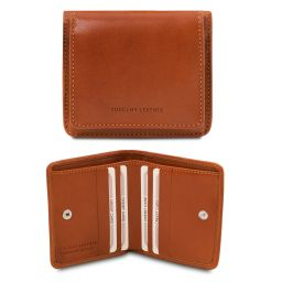 Exclusive leather wallet with coin pocket Honey TL142059