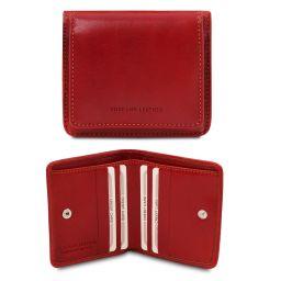 Esclusivo portafoglio in pelle con portamonete Rosso TL142059