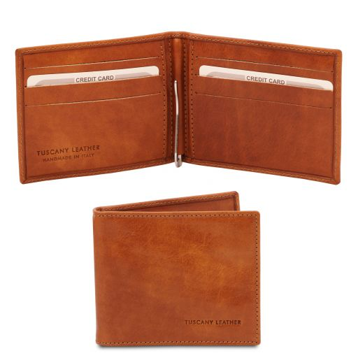 Exclusive leather card holder with money clip Мед TL142055