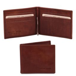 Exclusive leather card holder with money clip Brown TL142055