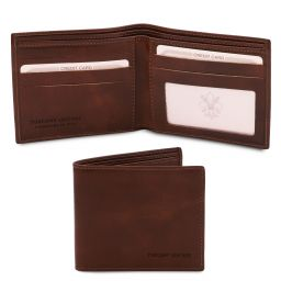 Exclusive 2 fold leather wallet for men Dark Brown TL142056