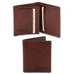 Esclusivo portafoglio uomo in pelle 3 ante Marrone TL142057