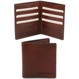 Esclusivo portafoglio uomo in pelle 2 ante Marrone TL142060