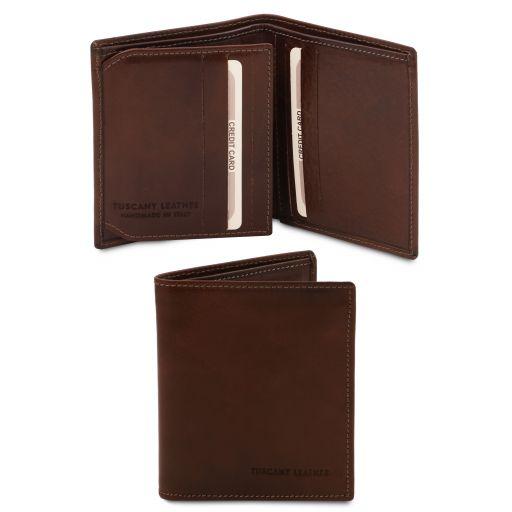 Elegante cartera de señor en piel Marrón oscuro TL142057