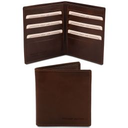 Exclusive 2 fold leather wallet for men Dark Brown TL142060