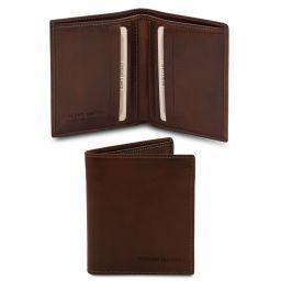 Elegante cartera de señor en piel Marrón oscuro TL142064
